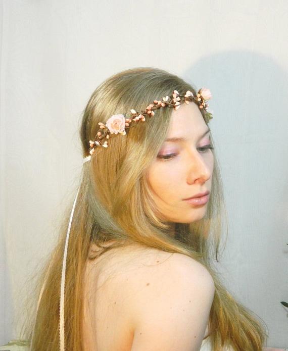 ON SALE Corinne - Woodland Crown Flower Hair Accessory - Tiara - Peach Pink - Bride - Flower girl - Weddings