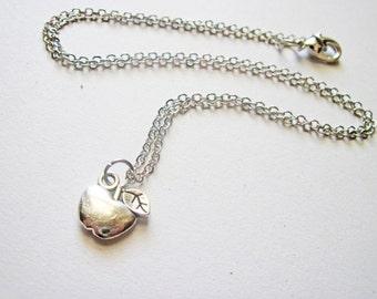 Teacher Apple Necklace, Snow white Apple Necklace, Minimalist Teacher Necklace, Small Apple Charm Necklace, Cute Apple Pendant Necklace