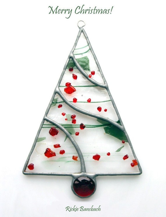 Christmas tree swirl with glass nugget stained