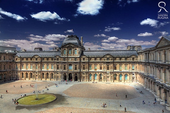 Paris wall art, photo print of the Louvre Museum inner yard in Paris, France, print to frame for your wall