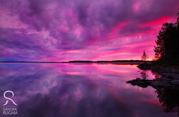 Sunset Nature Wall Art Sunset In Finland Over Lake Surreal