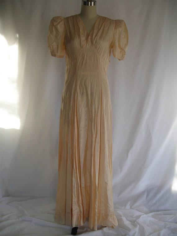SALE 1930s 1940s  Peach Moire Taffeta Evening Dress