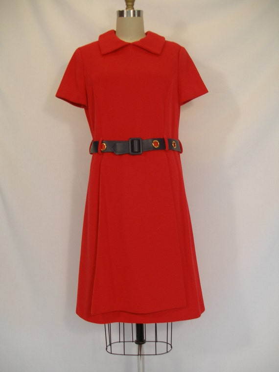 1960s 1970s Red Dress with Blue Belt