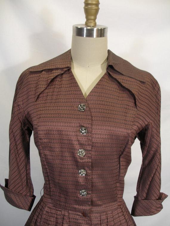 1950s Mauve Grey Iridescent Shirtwaist Dress