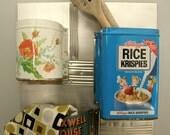 Kitchen Organizer - Repurposed Vintage Tins, Wall Organizer