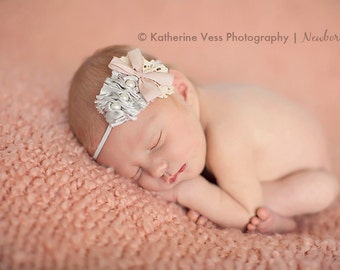 Elizabeth-Vintage Grey and Pink Ruched headband with Pearls and Pink Bow