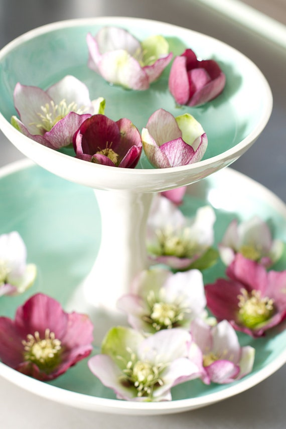White and turquoise 2 tiered fruit serving vase or display - Tiered fruit bowl ...