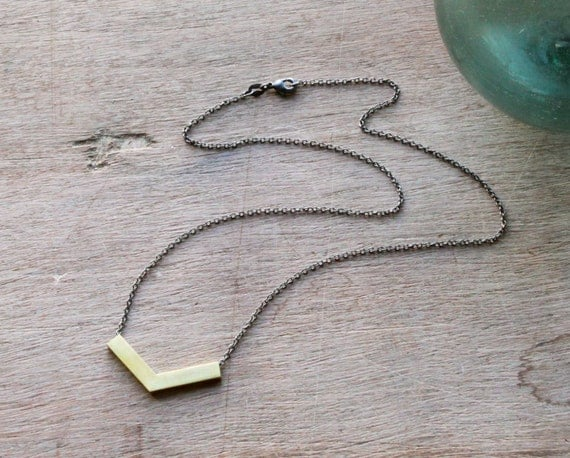the Brass Chevron necklace