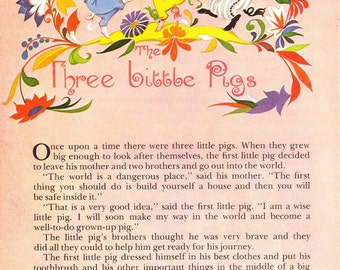 The Three Little Pigs - FULL STORY - Vintage Illustration Storybook Print - Deans A Book of Fairy Tales