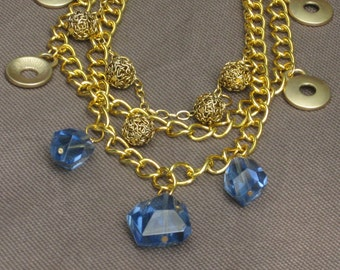 Necklace-Gold Jewelry-Gold Chain Necklace-Multi strand necklace-Gold and Blue jewelry-Chunky Gold Necklace-Chunky Gold and Blue-Gold Bib