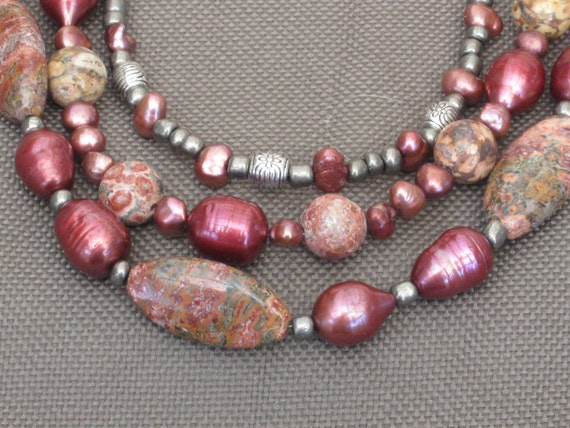 Necklace- Beaded Necklace-Freshwater Pearl Necklace- Stone and Pearl Necklace- Multi-strand Necklace-Burgundy Necklace-Red Jasper necklace