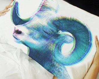 Animal-Mask pillow /big horn, METAMORPHOSIS (sleeping animal pillowcase)