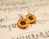 Sunflower Crochet Earrings