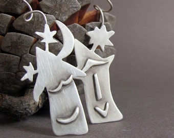 Mismatched Rustic Sterling Silver Earrings, House Silver Earrings