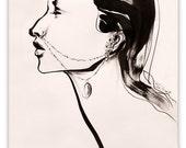 "Beautiful Brush Strokes Contemporary Art, Fashion Drawing Art Giclee Print--INFIDEL, 8"" x 10"""
