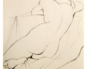 "Charcoal Pencil Nude Drawing of a Woman Sleeping, Art Archival Giclee Print - Whisper, 8""x10""."