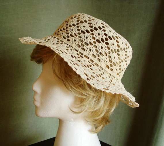 Crochet lace summer HAT off white cotton hand crocheted CLASSIC wide brim hat