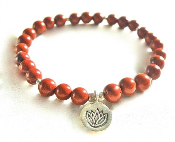 Red Jasper Gemstone Mala/Bracelet with Silver Lotus Charm