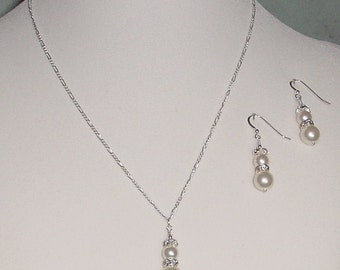 Wedding Swarovski Cream Pearl Necklace and Earring Set  Silver  ne-212 Made to Order