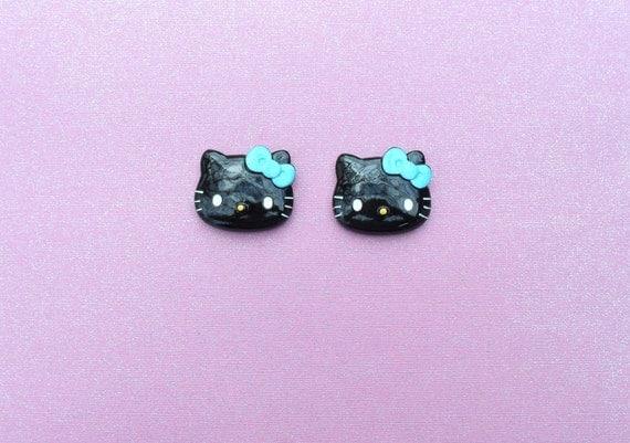 2 pcs Cat Large Black With Blue Bow Cabochon