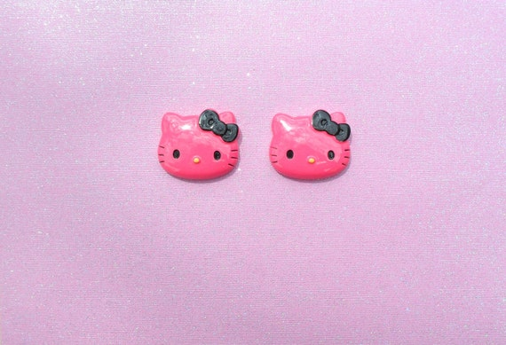 2 pcs Cat Large Dark Pink With Black Bow Cabochon