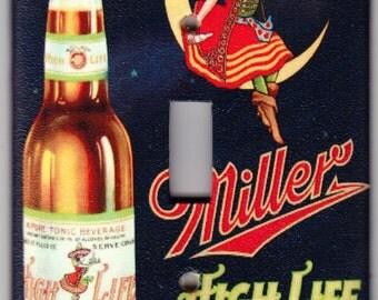 Vintage Miller High Life Beer / Miller Girl Switchplate Cover - Single Jumbo size (408)