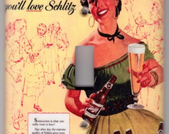 Vintage Schlitz Beer Poster Switchplate Cover - Single Jumbo size (411)