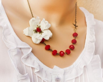 christmas gift, white cherry blossom flower necklace, assymetrical necklace, crystal necklace, asymmetrical jewelry, floral neckalce