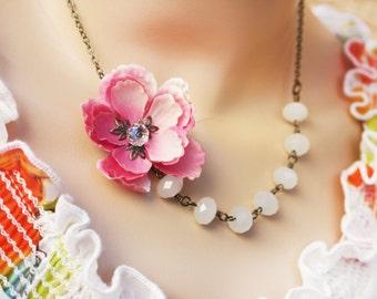 pink cherry blossom necklace, cherry blossom necklace, asymmetrical necklace, white bead necklace