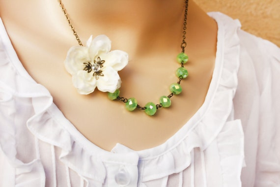 wedding accessories, cherry blossom, flower necklace, asymetrical necklace,green necklace,  statement jewelry free simple drop earrings