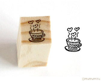 Lovely coffee Small Rubber Stamp