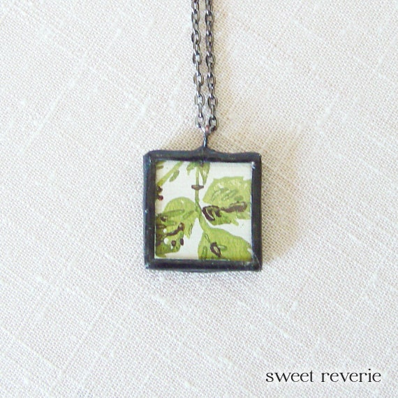 Avocado Green and Brown Leaves Pressed Flower Botanical Vintage Wallpaper Pendant Necklace, Soldered Glass, Bridesmaids, Summer Jewelry