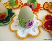 CROCHET PATTERN Egg Holder Easter Decorations, Easter Flowers, Crochet Home Decor, DIY Craft Easter Gift, Instant Download Pdf Pattern No.49