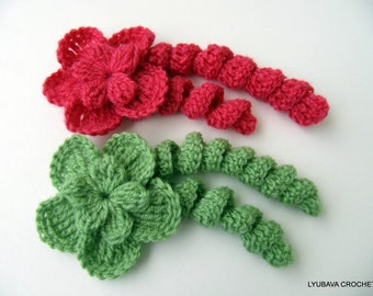 Crochet Flower PATTERN, Unique Flower With Curls, DIY Crochet 3d Flowers, Tutorial Instant Download PDF Pattern No.19 by Lyubava Crochet