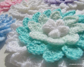 Crochet Flower PATTERN-3d Flowers-Big Crochet Flowers-DIY Crafts-Crochet Gift Tutorial Instant Download PDF Pattern No.21 by Lyubava Crochet