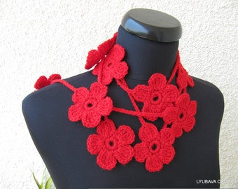Crochet PATTERN Flower Scarf-Crochet Lariat Scarf-DIY Gift-Easy Crochet Flowers Tutorial Pattern-Instant Download PDF Digital Pattern No.29