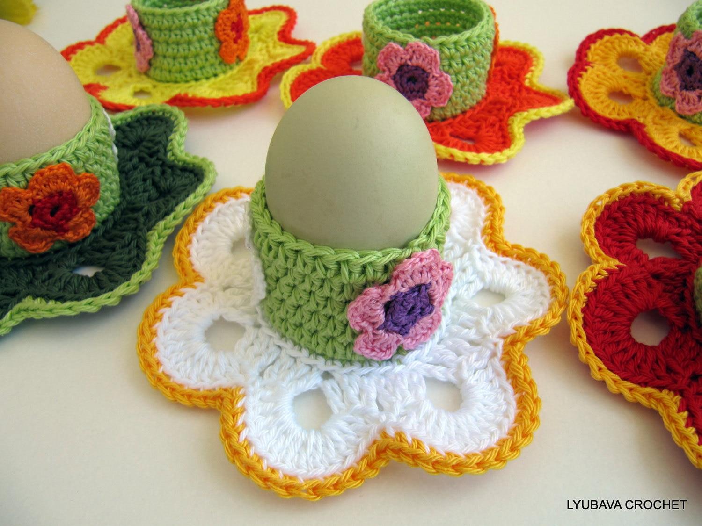 Crochet Decoration Patterns Crochet Pattern Egg Holder Easter Flowers Easter
