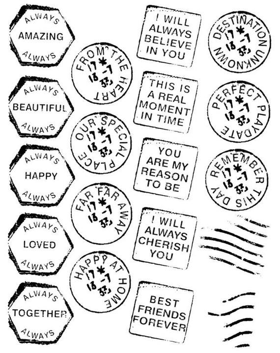 SALE  - Clear Acrylic Stamps Valentine Love Family and Friend Sayings Postmarks by Autumn Leaves