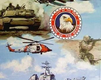 Armed Forces, Patriotic art, Military art, Americana prints