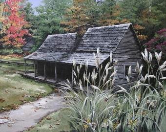 Rustic Log Cabin Archival print Noah Bud Ogle Cabin Gatlinburg, Tn