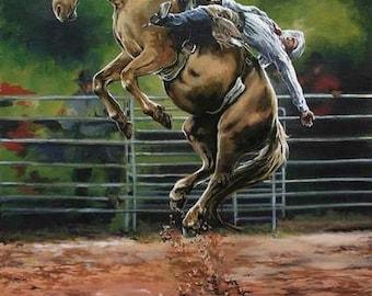 Rodeo art, bronc riding, rustic wall decor, archival prints