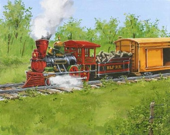 Train art, steam engine original acrylic painting  personalized wall art