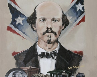 Captain William Fuller Portrait The Great Locomotive Chase Fine Art Print by Artist Cathy Cooksey