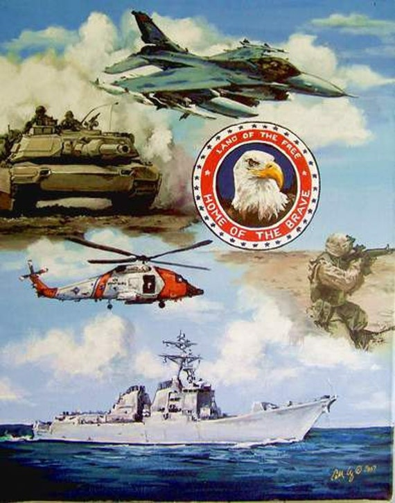 Armed Forces, Patriotic art, Military art, Americana prints