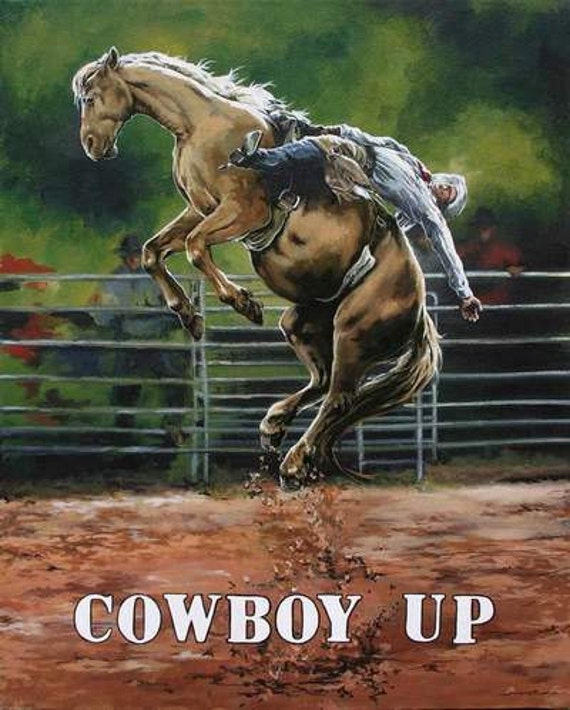 Rodeo Art Bronc Riding Rustic Wall Decor Archival Prints