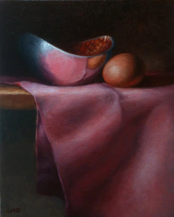 """Original still life oil painting, titled Egg and Bowl, measuring  8"""" x 10"""""""