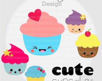 Baby Shower Clip Art, Birthday Clip Art, Digital Clip Art, CUPCAKES, Instant Download