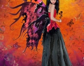 Red fairy print, fairy wall art, fairy wall decor, fairy giclee, 11x14 unframed limited edition print