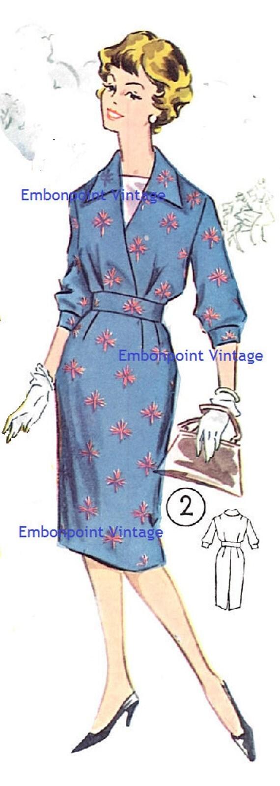 Plus Size (or any size) Vintage 1950s Dress Pattern - PDF - Pattern No 2: Claudine