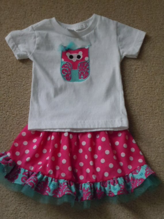 Owl Applique T-Shirt and Matching Ruffled Skirt in teal and raspberry pink w/ tulle accents